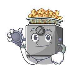 Doctor cartoon deep fryer in the kitchen vector
