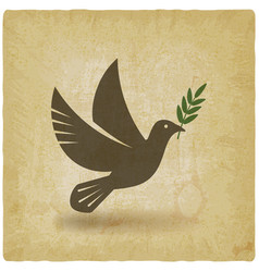 dove with olive branch vintage background vector image