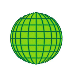 earth globe sign lemon scribble icon on vector image