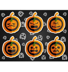 Face pumpkins for Halloween set 4 vector