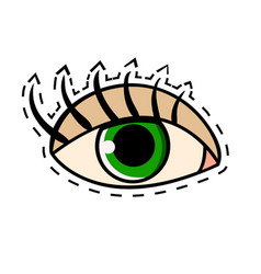 Female green eye with long eyelashes comic vector
