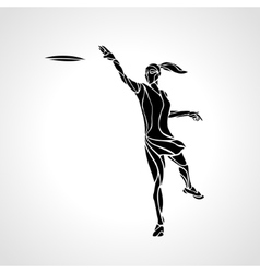 Female player is throwing flying disc vector image