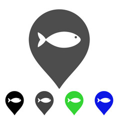 fish marker flat icon vector image