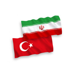 Flags turkey and iran on a white background vector