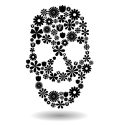 Flower skull in black over white vector