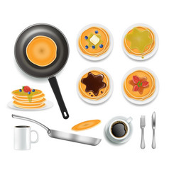 fluffy pancakes with honey chocolate blueberry vector image