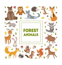 Forest animals banner template with cute wild vector