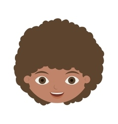 Front face child with curly hair vector