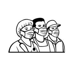 Front line or essential workers as heroes black vector