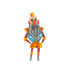 Funny bearded king character in golden crown vector