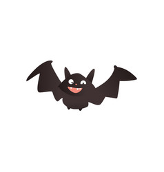 funny vampire bat flying with wide spread wings vector image