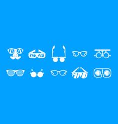 glasses icon blue set vector image
