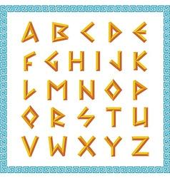 Greek font Golden bevel stick style letters vector