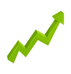 Green growth arrow chart icon cartoon style vector
