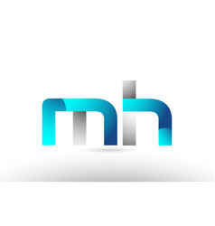 Grey blue alphabet letter mh m h logo 3d design vector