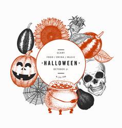 halloween design template hand drawn banner vector image