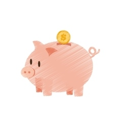 Hand draw coin piggy saving money color vector