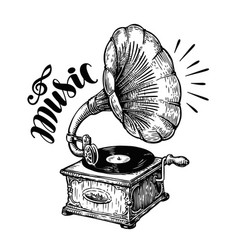Hand drawn gramophone sketch music nostalgia vector
