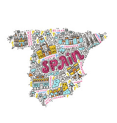 Handdrawn map of spain vector