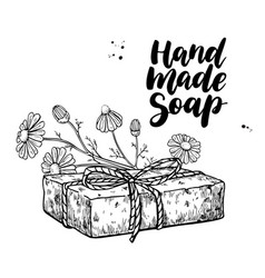 handmade natural soap hand drawn vector image