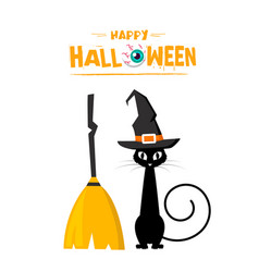 happy halloween cat witch broom background vector image