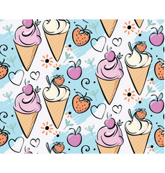 Ice cream with strawberry cherry pink creame red vector