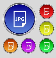 Jpg file icon sign Round symbol on bright vector