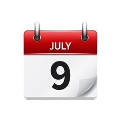 July 9 flat daily calendar icon Date and vector