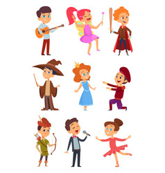 Kid actors theater performance of funny childrens vector