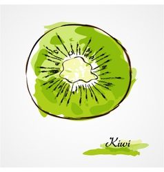 Kiwi fruit slice vector