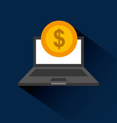 laptop computer with coin dollar isolated icon vector image