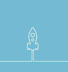 line rocket icon on blue background vector image
