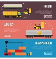 Logistics and transportation banner set vector image