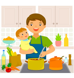 Man with baby in the kitchen vector