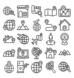 Map and navigation isolated icons set that vector