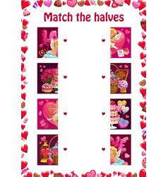 match halves kids education valentines puzzle vector image