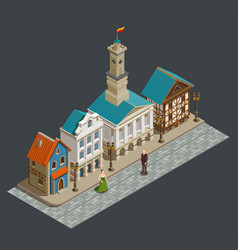 medieval architecture isometric composition vector image