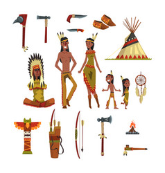 Native american indians and traditional clothes vector