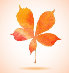 Orange watercolor painted chestnut leaf vector