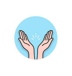 prayer or applause hands round logo vector image