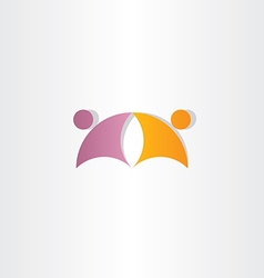 purple orange business people partners icon logo vector image