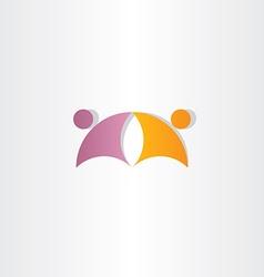 Purple orange business people partners icon logo vector