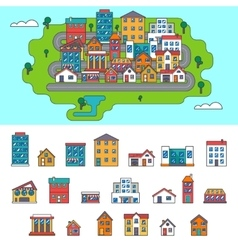 Real Estate City Building House Street Flat Icons vector image