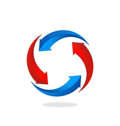 Recycle circular arrow business logo vector