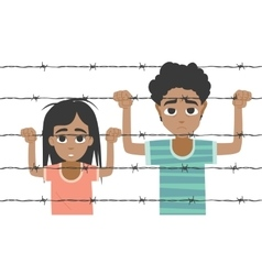 Refugee boy and girl behind barbed wire vector