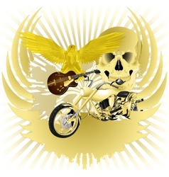 Rock n roll background and golden chopper vector image
