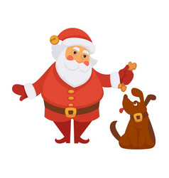 Santa playing dog pet daily christmas life cartoon vector