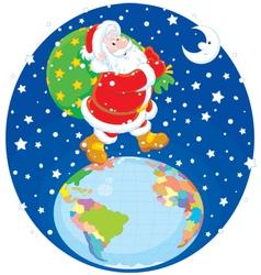 Santa with his bag of gifts vector image