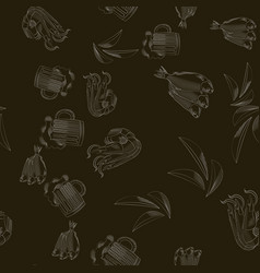 Seamless pattern with mug of beer shrimp potato vector
