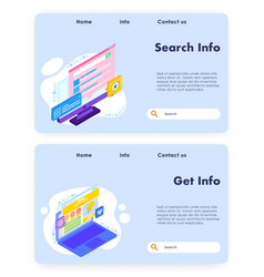 search info website landing page template vector image